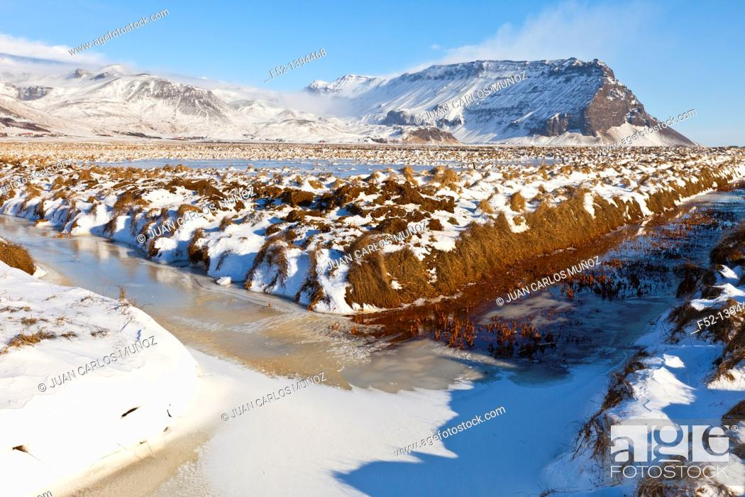 Stock Photo: Winter landscape, Southern Iceland, Iceland, Europe.
