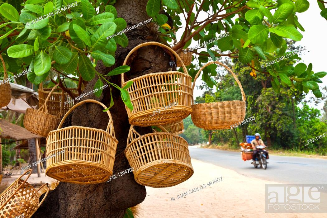 Stock Photo: Basketwork handicrafts, Angkor, Siem Reap town, Siem Reap province, Cambodia, Asia.