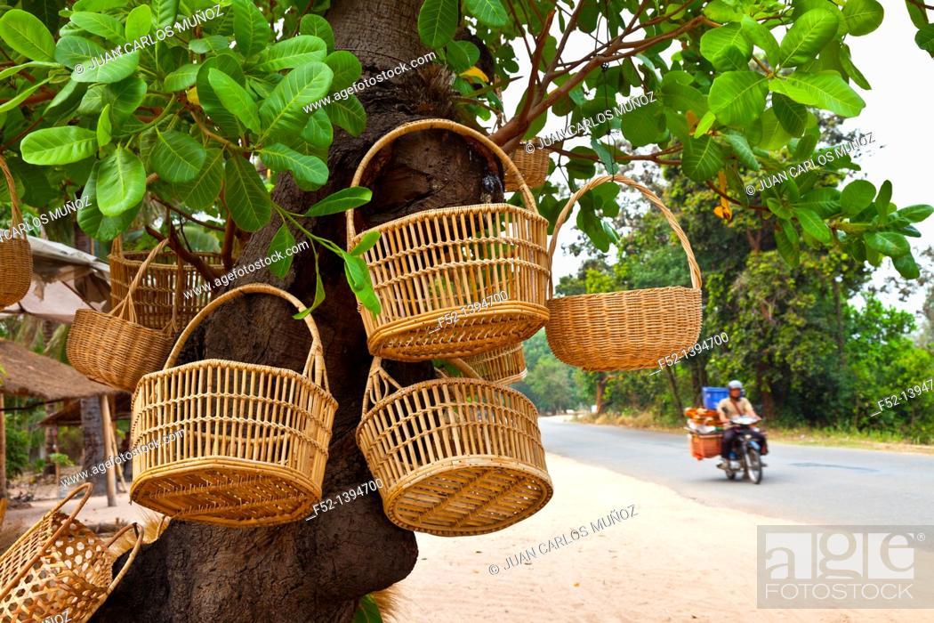 Stock Photo: Basketwork handicrafts, Angkor, Siem Reap town, Siem Reap province, Cambodia, Asia.