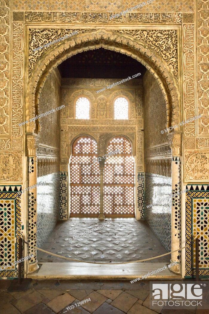 Stock Photo: Hall of the Ambassadors Sala de los Embajadores in Alhambra Granada, Spain.