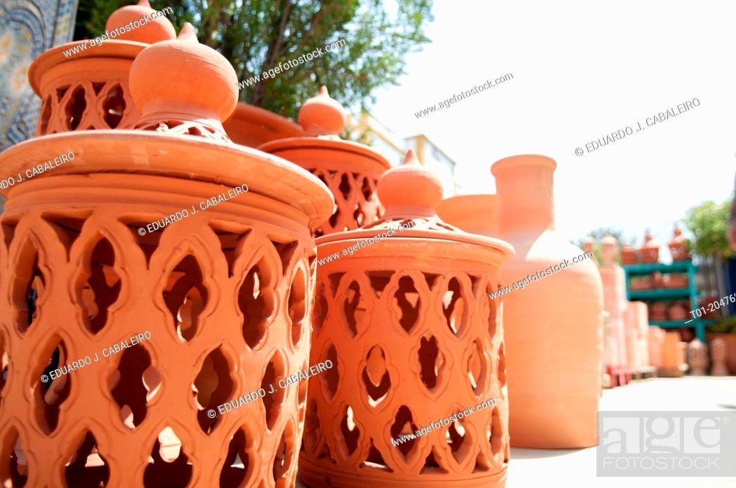 Stock Photo: Clay candlestick in crafts store in Benacazon. Seville. Andalusia. Spain.