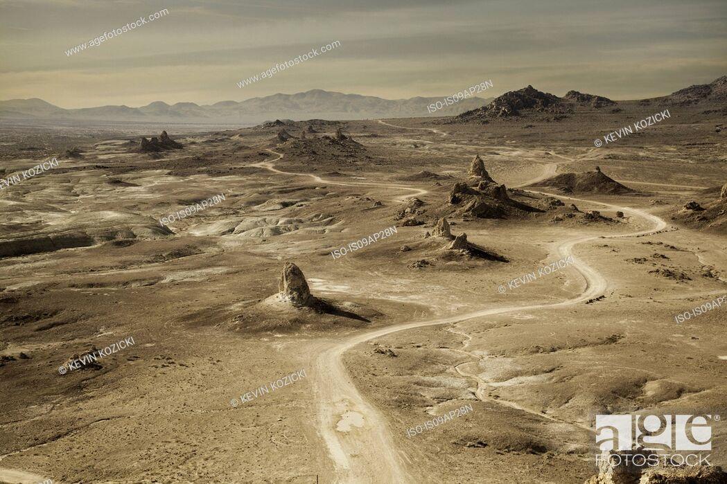 Stock Photo: High angle view of Trona Pinnacles and winding desert road, Trona, California, USA.