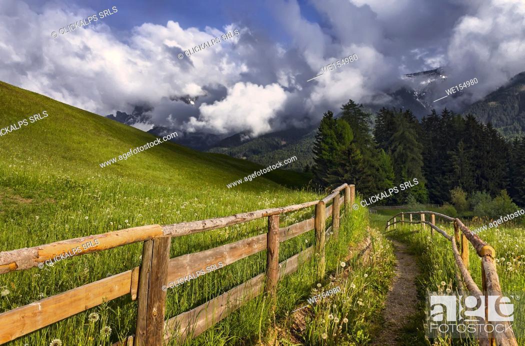 Stock Photo: A Path with fence, Funes valley, Bolzano province, South Tyrol region, Trentino Alto Adige, Italy, Europe.
