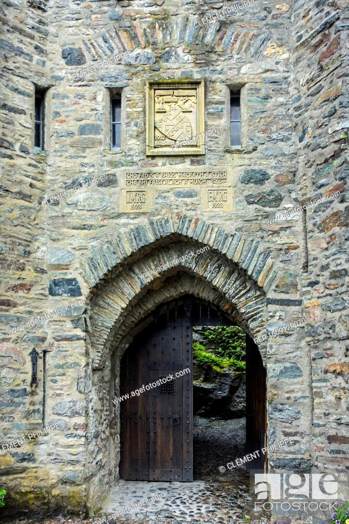 Stock Photo: Entrance gate to Eilean Donan Castle, Ross and Cromarty, Western Highlands of Scotland, UK.