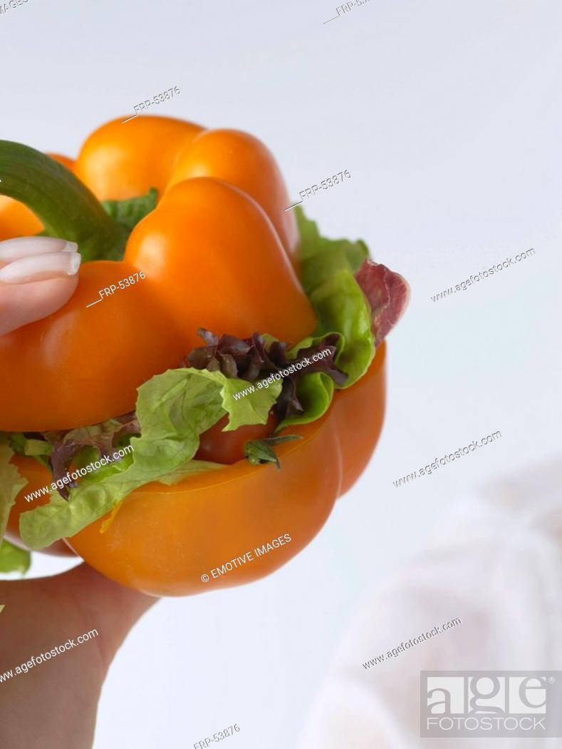 Stock Photo: Pepper vegie-burger.