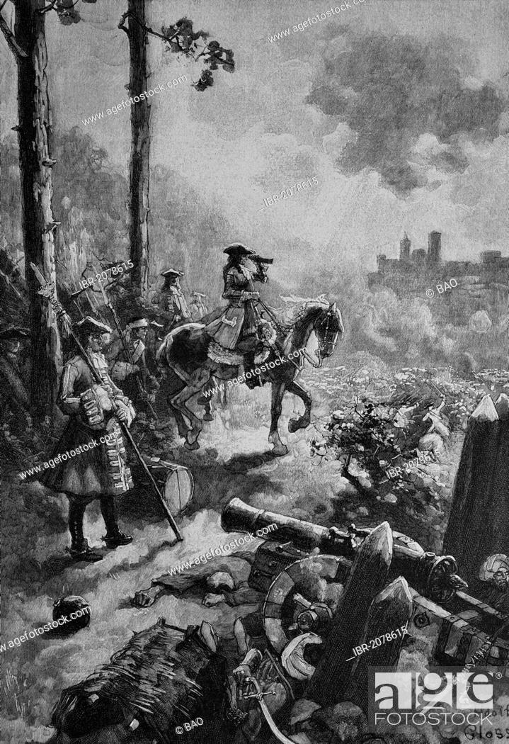 Stock Photo: Prince Eugen during the battle of Belgrade, Serbia, 16 August 1717, woodcut, historical engraving, 1899.