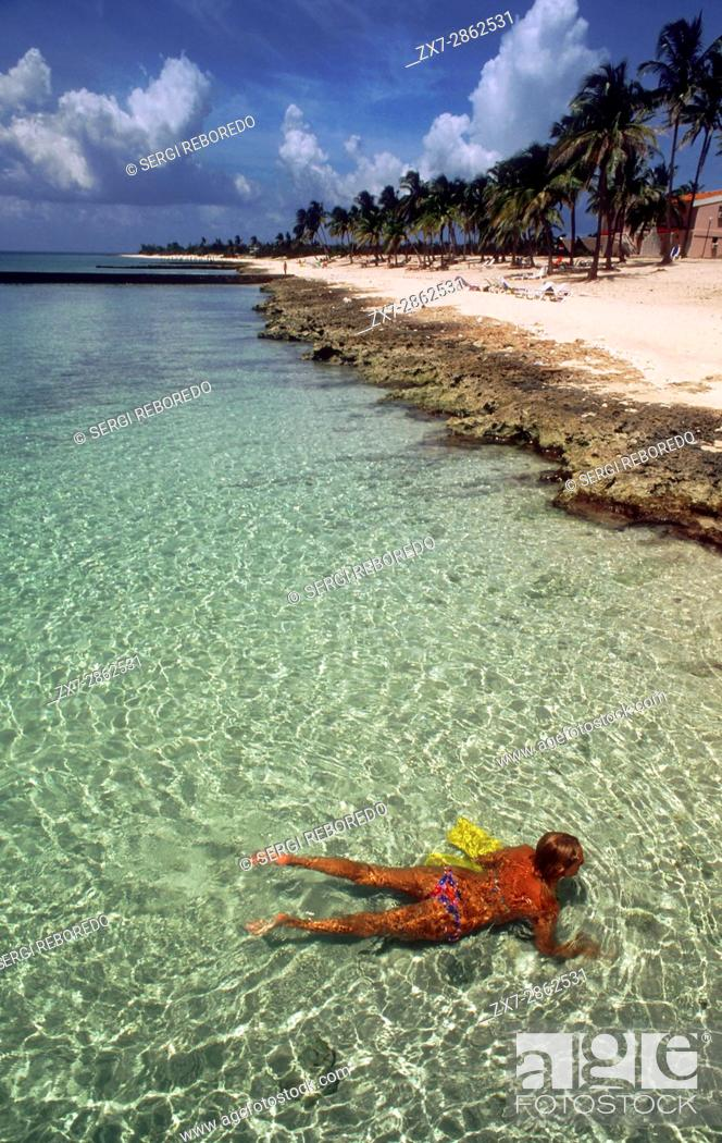 Stock Photo: White sand in Maria la Gorda beach. Seaside resort of Maria La Gorda in the Pinar del Rio province of Cuba, West Indies.
