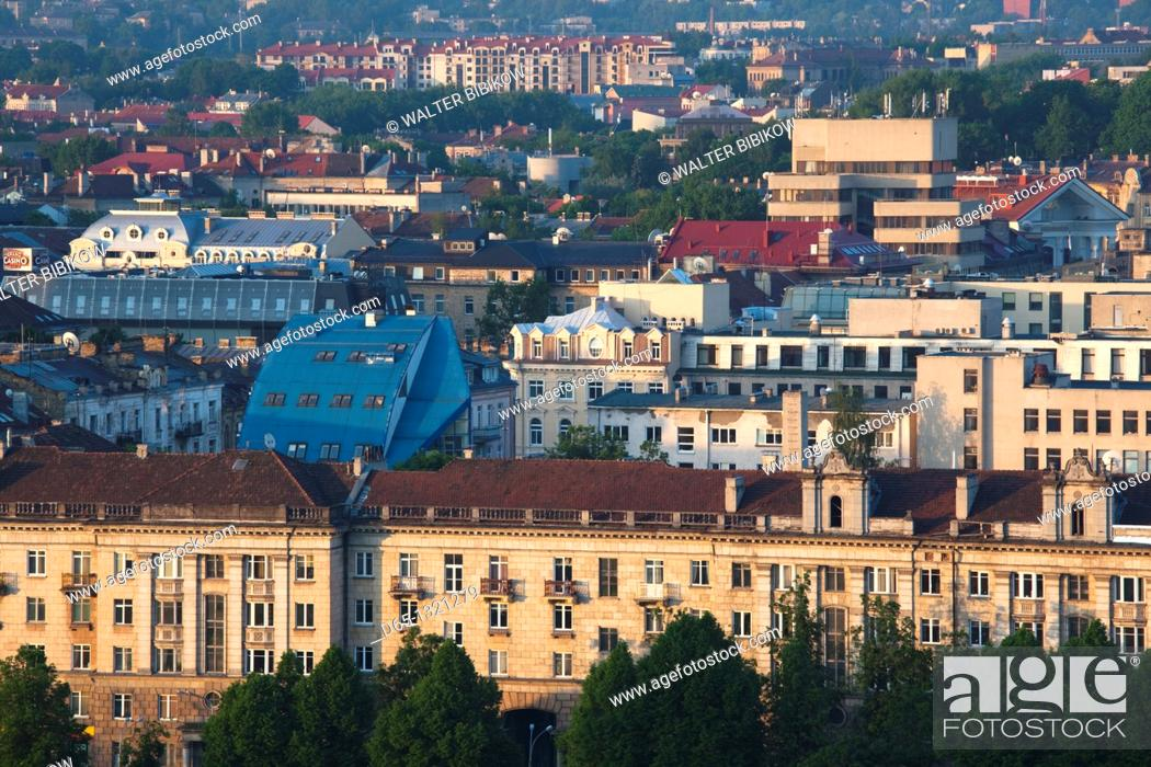 Stock Photo: Lithuania, Vilnius, elevated city view from Snipiskes, morning.