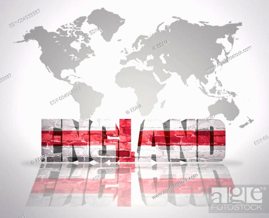 Stock Photo: Word England with english Flag on a world map background.