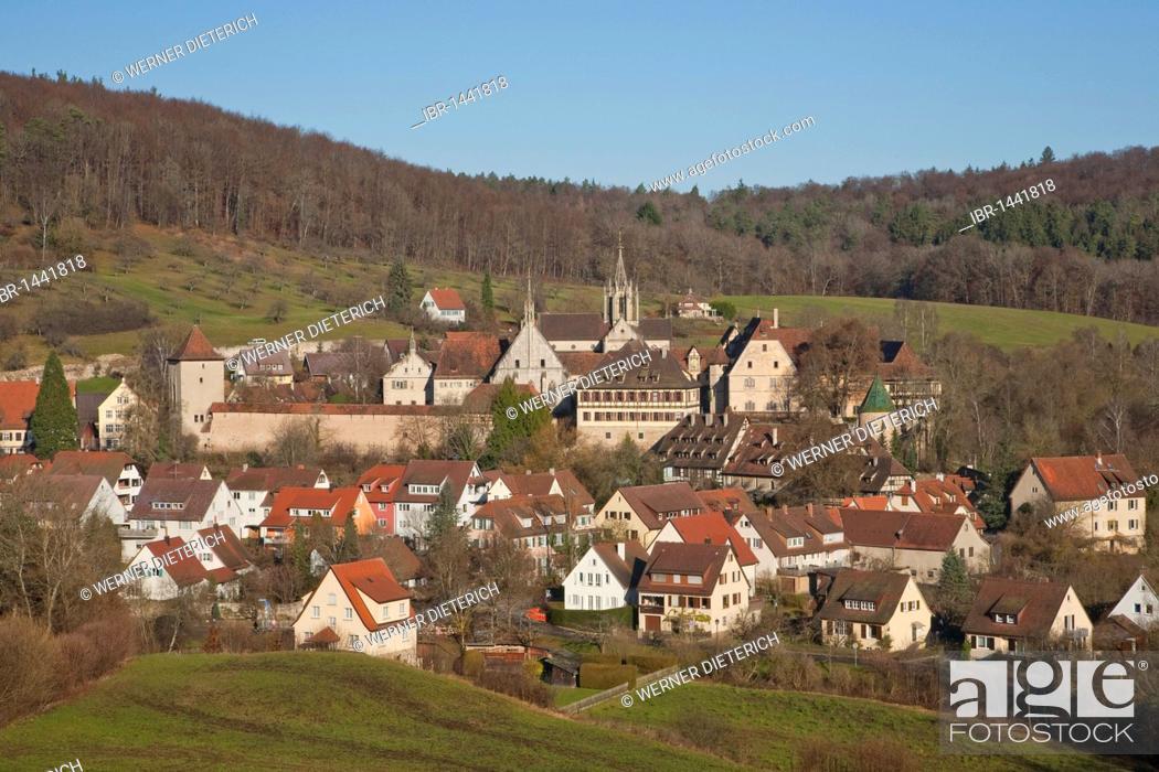 Stock Photo: View of castle and Bebenhausen monastery, Tuebingen-Bebenhausen, Tuebingen, Baden-Wuerttemberg, Germany, Europe.