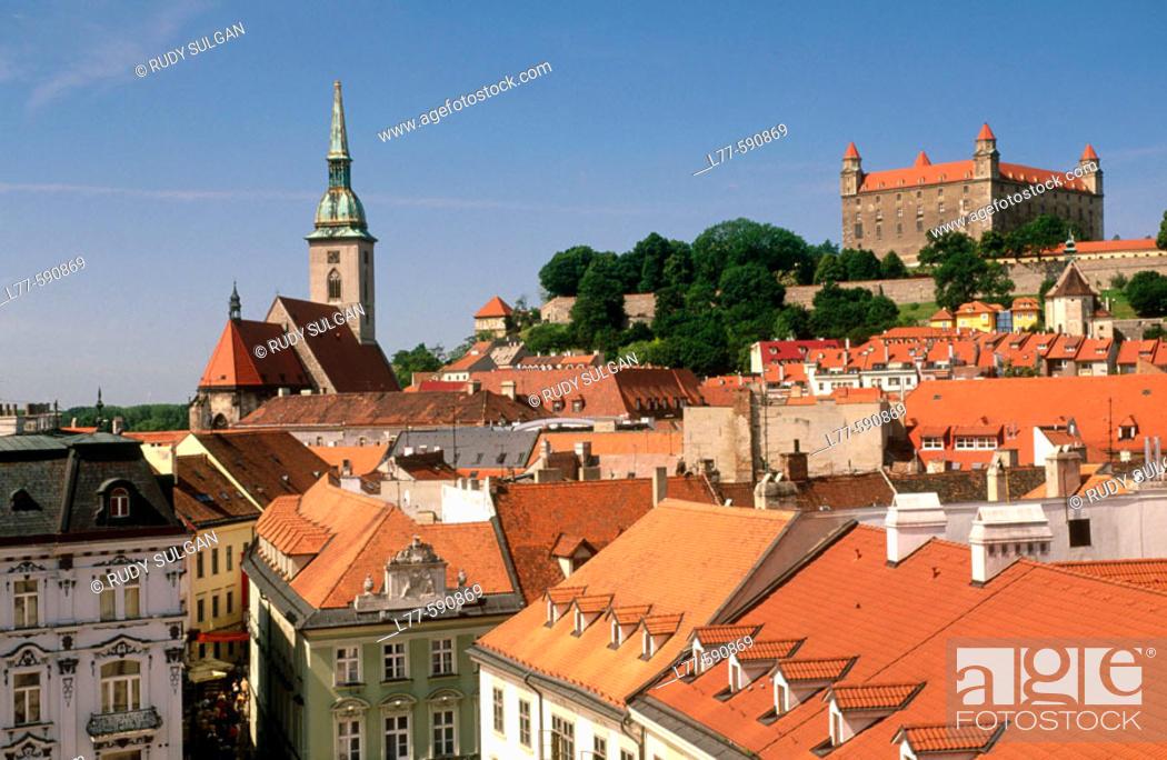 Stock Photo: City rooftops and castle. Bratislava. Slovakia.