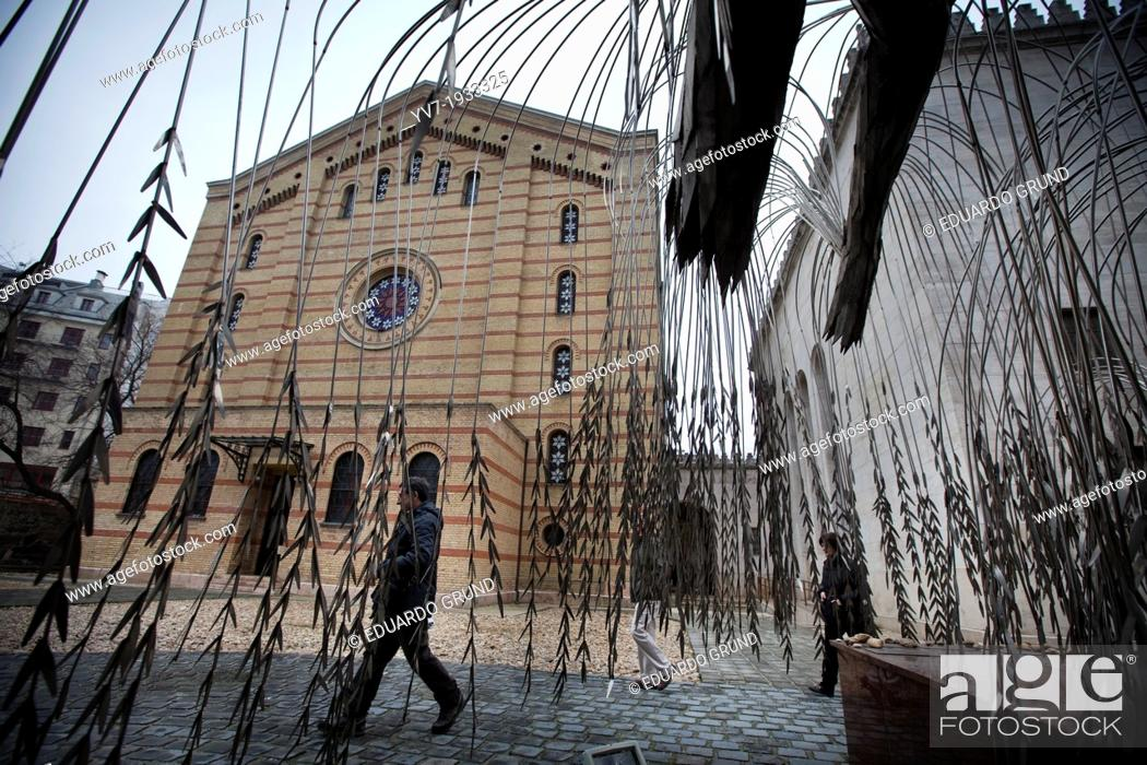 """Stock Photo: Outside of the Great Synagogue of Budapest is the """"""""Tree of Life"""""""" Budapest, Pest, Hungary, Europe."""
