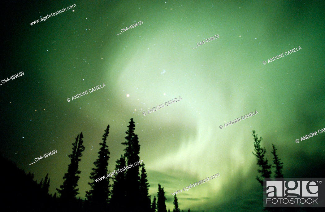 Stock Photo: Aurora Borealis or Nothern Lights. Brooks range. Alaska. USA.