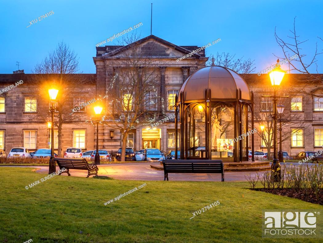 Stock Photo: Crescent Gardens and Harrogate Borough Council Building at Dusk at Christmas Harrogate North Yorkshire England.