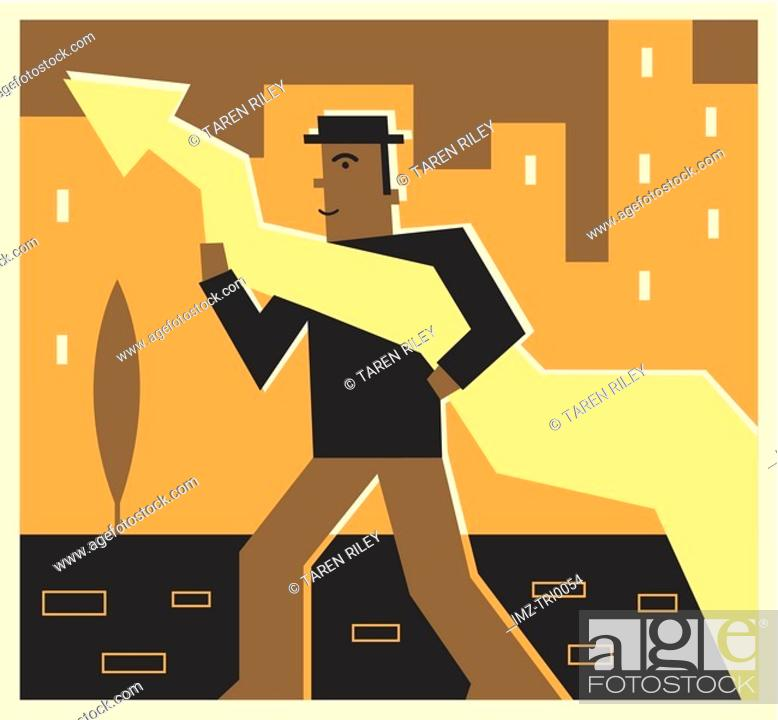 Stock Photo: Man holding an arrow that is pointing up.