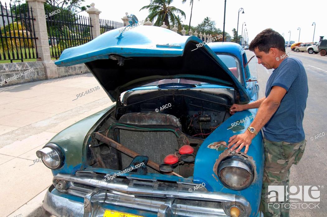 Breakdown Of Car At Roadside Car Repair Radiator Engine Damage