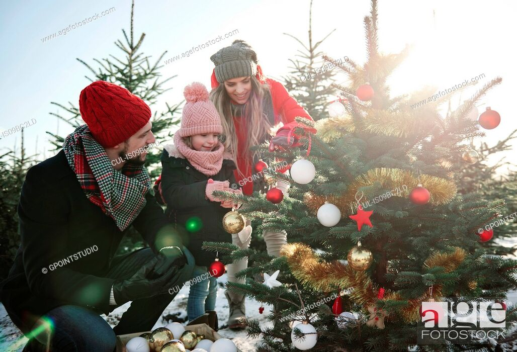 Stock Photo: Girl and parents looking at baubles on forest christmas tree.
