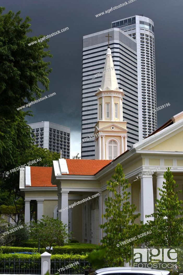 Stock Photo: Telok Ayer Chinese Methodist Church (1889), Fraser's tower office building in background.