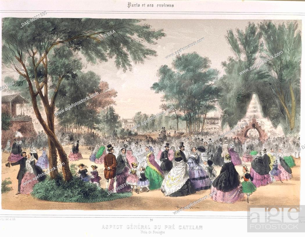 Stock Photo: France, 19th century. Paris. Bois de Boulogne Park. Engraving by A. Provost.  Paris, Bibliothèque Des Arts Decoratifs (Library).