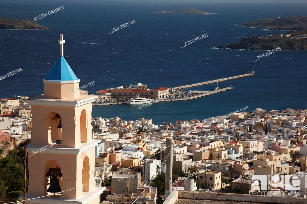 Stock Photo: View to the Ermoupolis from the altitude with the bell tower of the Catholic church in the foreground, Ano Syros, Syros, Cyclades Islands, Greek Islands, Greece.