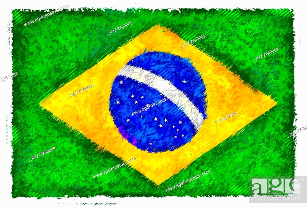 Stock Photo: Flag of Brazil.