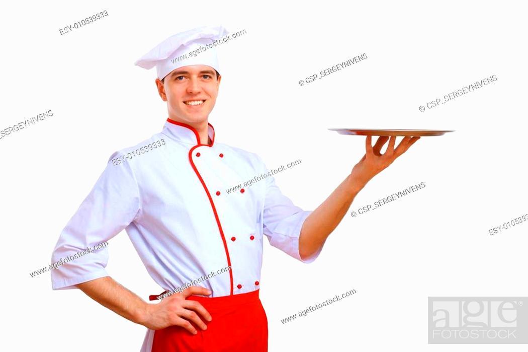 Photo de stock: Cook holding an empty tray.