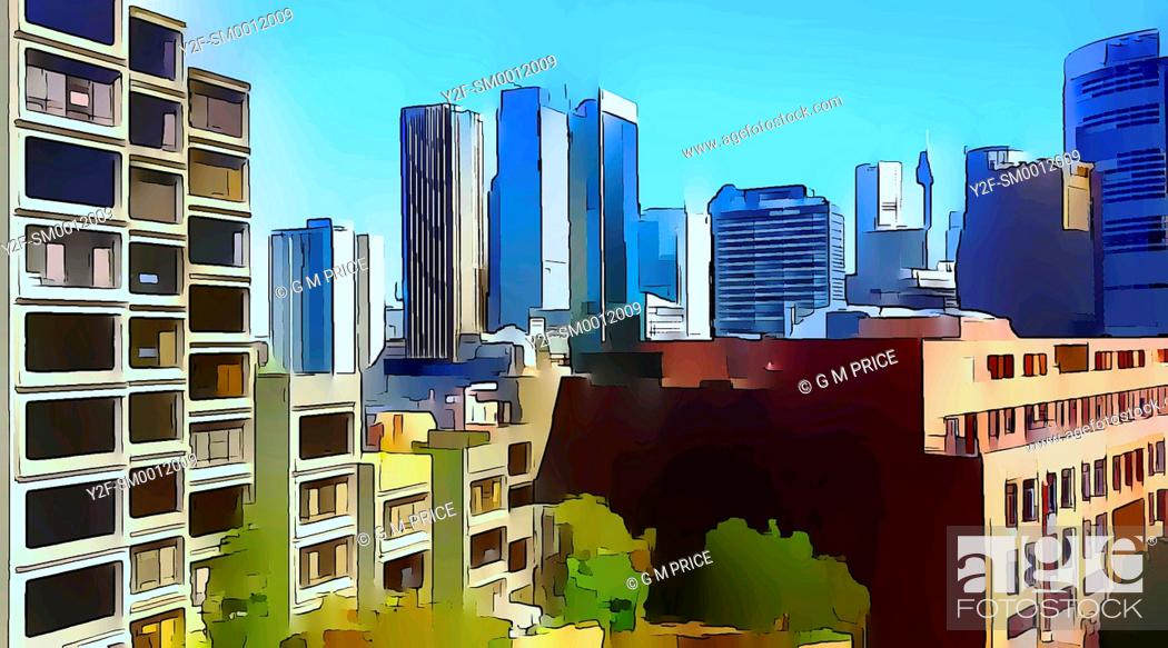 Stock Photo: graphically reprocessed photograph of residential and commercial buildings at The Rocks, with Sydney city skyline behind.
