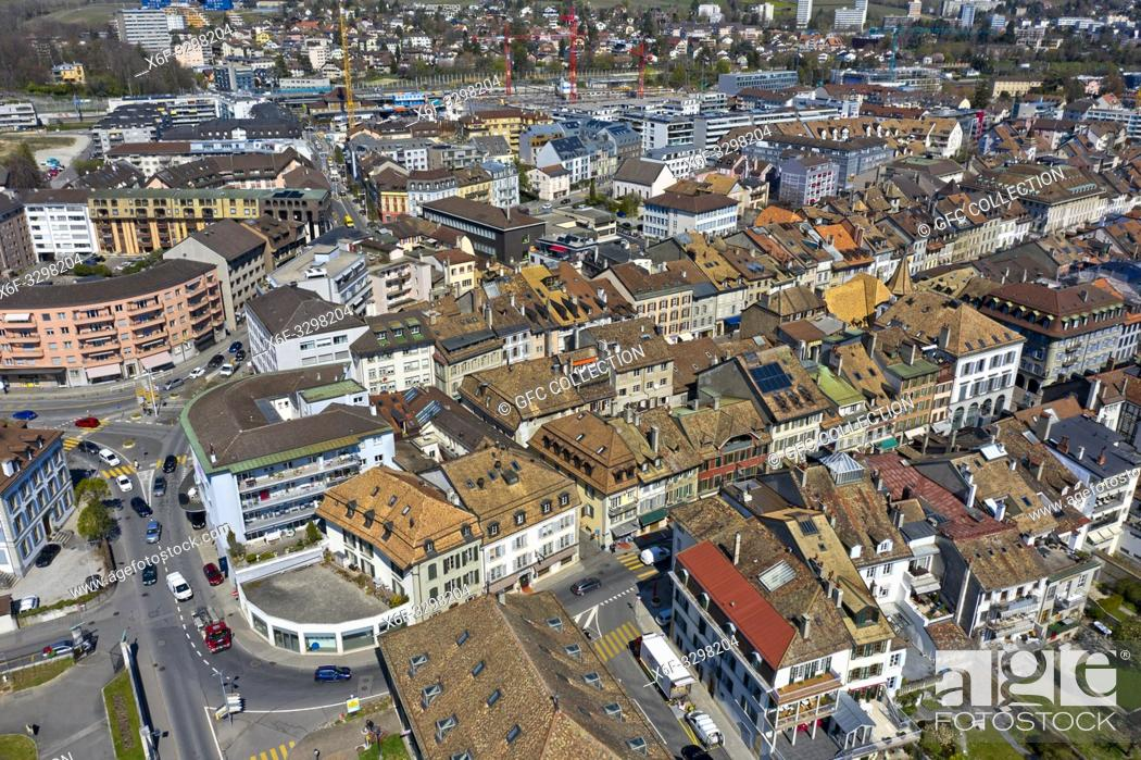 Stock Photo: Aerial shot of the old town of Morges, Vaud, Switzerland.