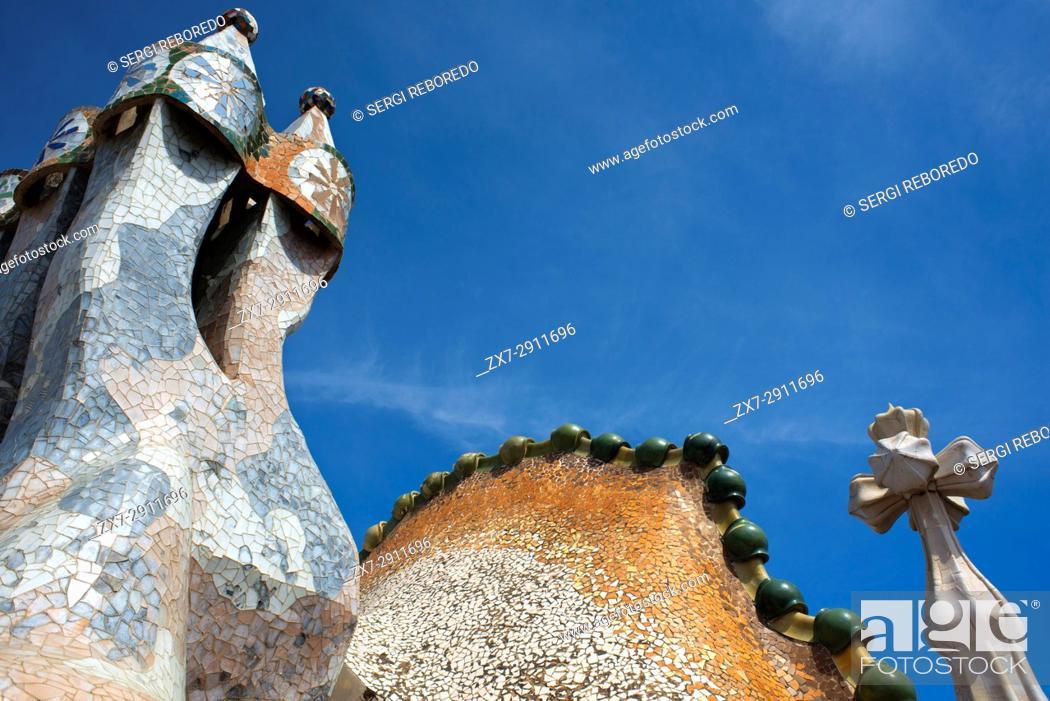 Stock Photo: Antoni Gaudi Casa Batllo, UNESCO World Heritage Site, Barcelona, Catalonia, Spain. Sant Jordi (Saint George) is the Patron Saint of Catalonia all is full of.