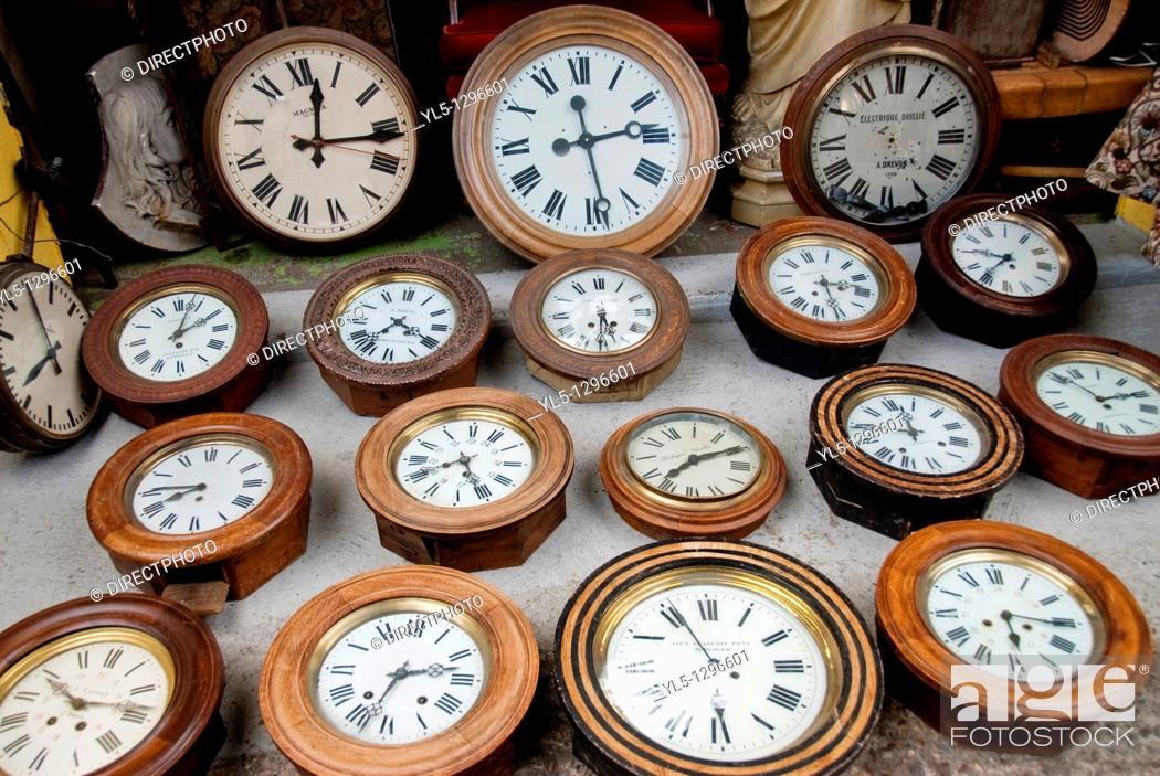 Stock Photo: Paris, France, Shopping, Flea Market, Porte de Clignancourt, French Antiques Market, Old Clocks Shop, Display.