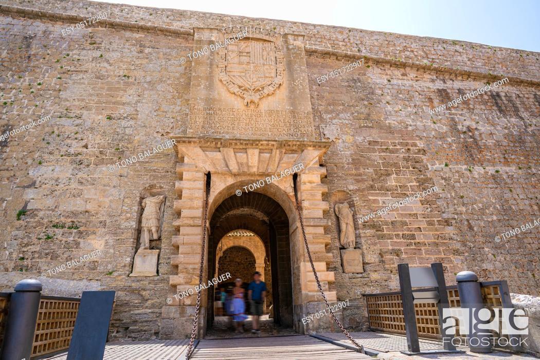 Stock Photo: Ibiza main door Dalt Vila entrance Portal de Ses Taules fortress.