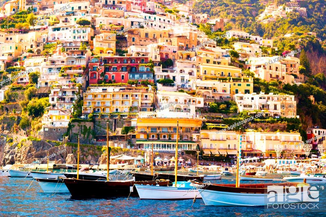 Stock Photo: Positano, Campania, Salerno, beautiful Town on the Amalfi Coast.