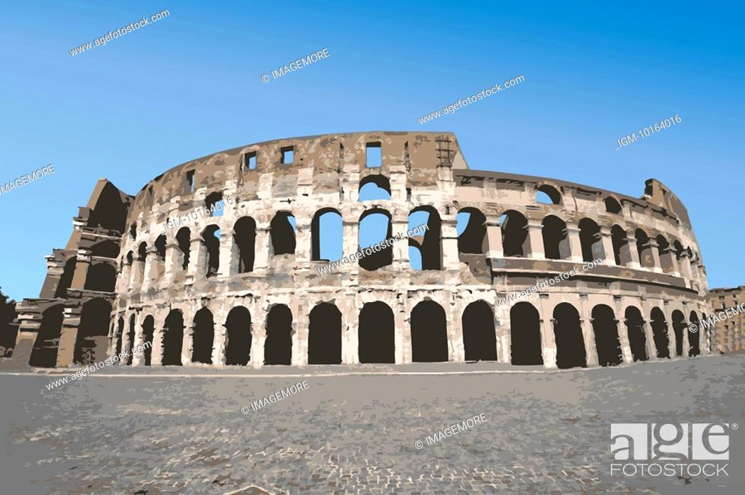 Stock Photo: Italy, Rome, Antique Roman amphitheater's, Capital Cities, UNESCO, World Cultural Heritage.