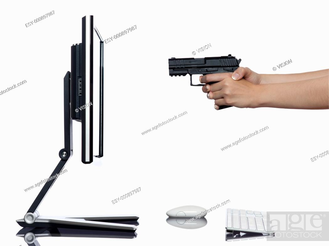 Stock Photo: communication between human hand and a computer display monitor on isolated white background expressing shooting rejection concept.