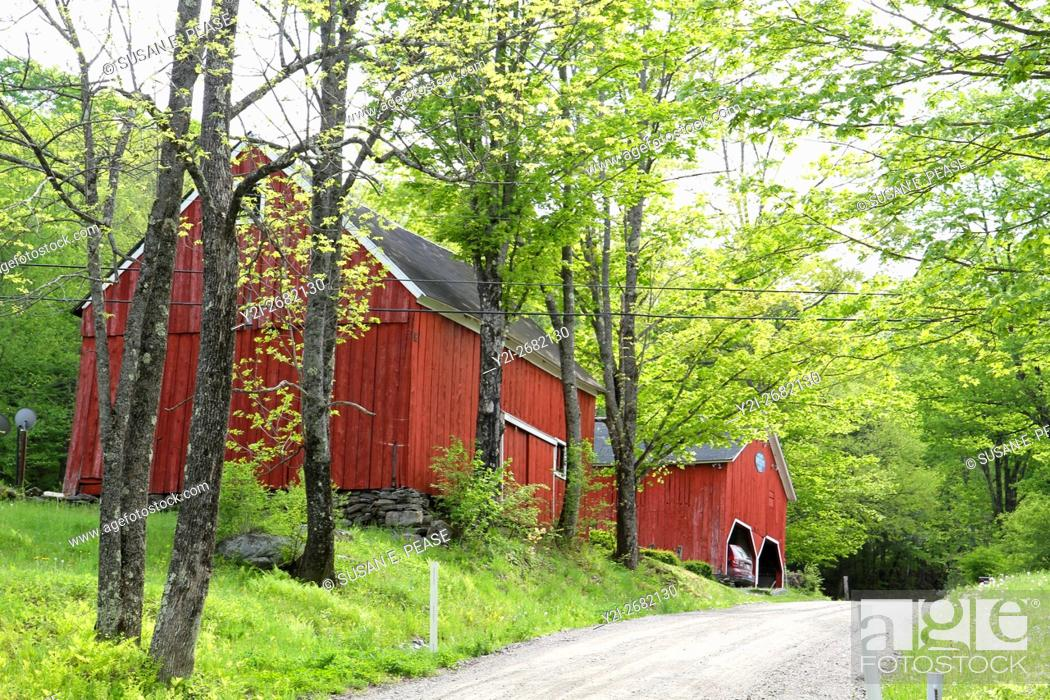 Stock Photo: Barns and old homes line dirt roads in the small village of Green River, Vermont, United States, North America.