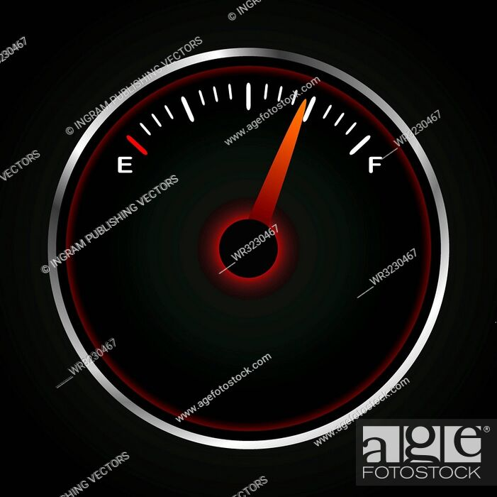 Vector: Fuel dial with red neon and silver bevel.