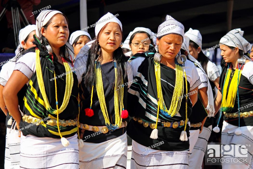 Stock Photo: Traditional Dance of Adi tribes during Namdapha Eco Cultural Festival, Miao, Arunachal Pradesh, India.