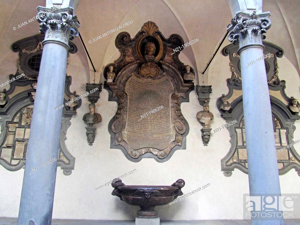 Stock Photo: Courtyard of the Columns, also known as Michelozzo's Courtyard (Cortile delle Colonne or Cortile di Michelozzo). Palazzo Medici-Ricardi.