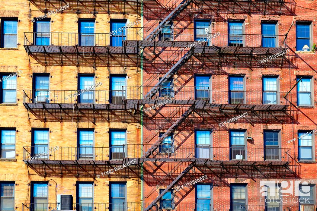 Stock Photo: Boston traditional brick wall building facades in Cross St Massachusetts USA.