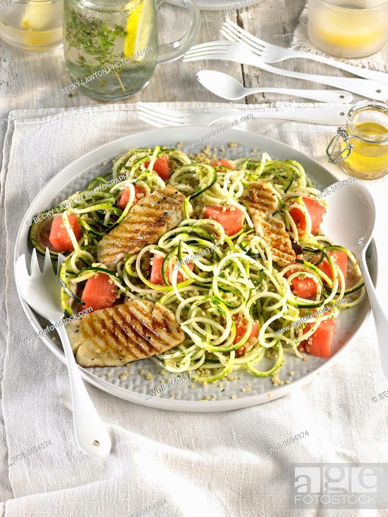 Stock Photo: zucchini quinoa watermelon zoodles and hallumi.
