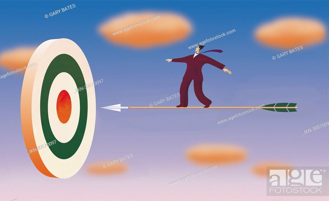 Imagen: Businessman on arrow flying towards target.