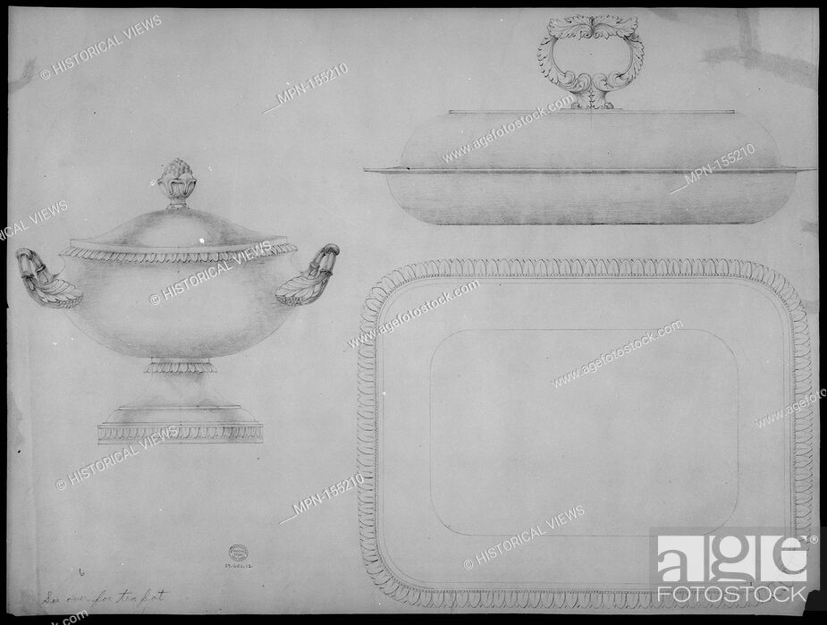 Stock Photo: Design for a tea-pot, verso: design for a covered dish and bowl. Artist: Thomas Fletcher (American, Alstead, New Hampshire 1787-1866 New Jersey); Artist: Sidney.