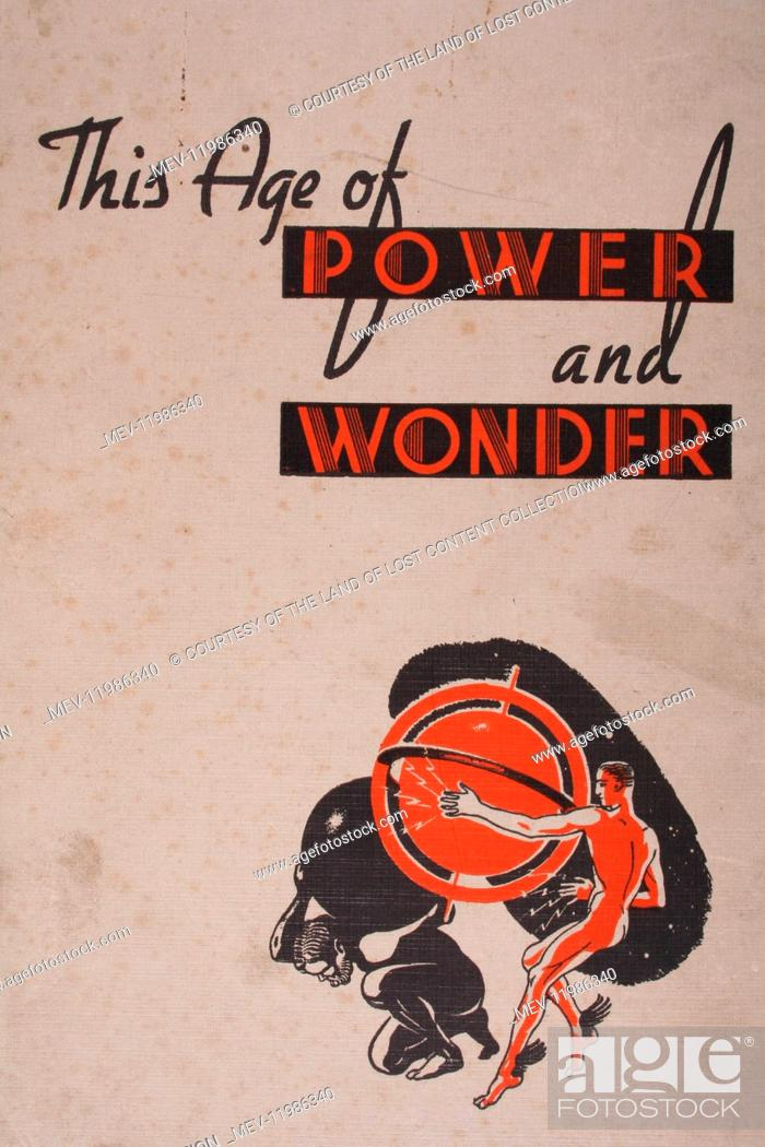 The age of power and wonder, man with globe, orange graphic