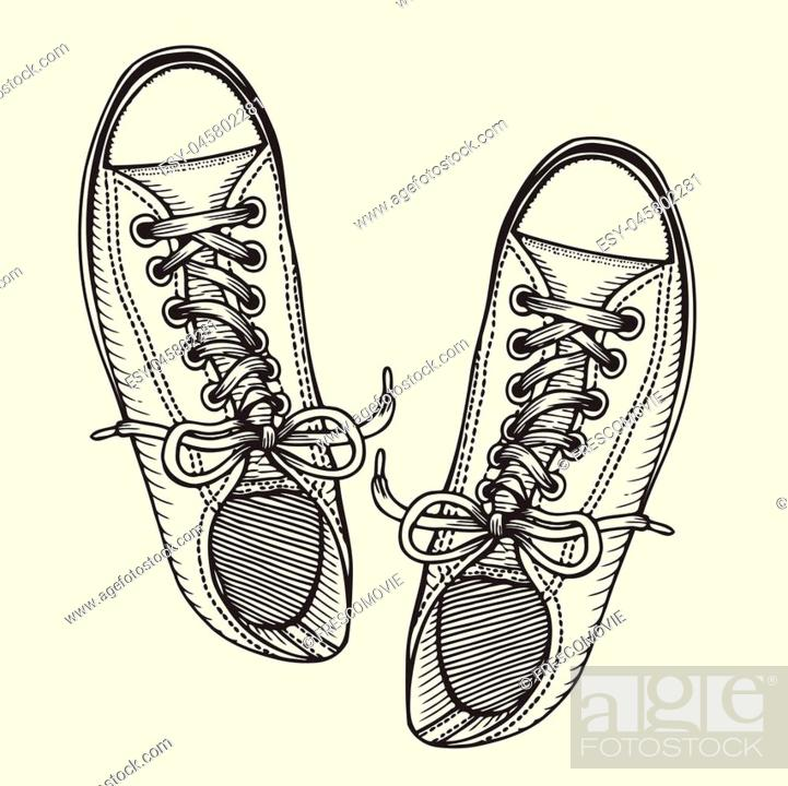 Stock Vector: Sketch Illustration, Pair of Skaters Shoes. Top View.
