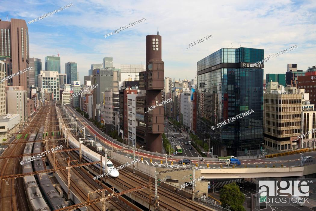 Stock Photo: Japan-Tokyo City-The Bullet Train through Ginza District.