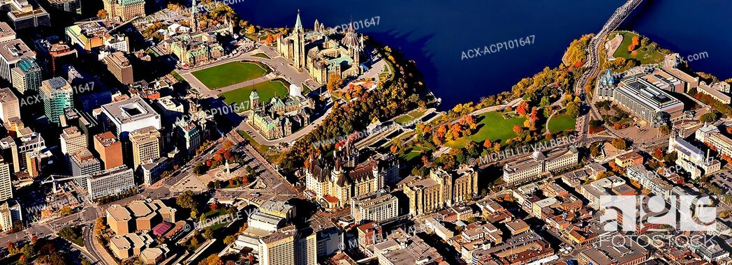 Stock Photo: aerial view of canadian parliament buildings in the fall Ottawa, Canada.