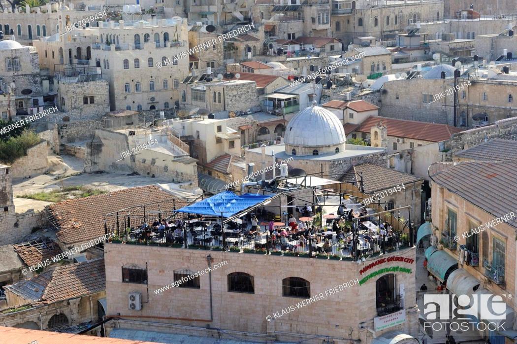 Stock Photo: Rooftop café, Golden City, Christian Quarter, Old City of Jerusalem, Israel, Middle East.