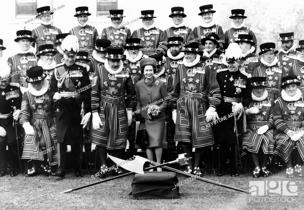 Stock Photo: The Queen with Yeoman Warders, Tower of London, 1971. Queen Elizabeth II with Field Marshal Sir Richard Hull (on the left), the head of the British Army.