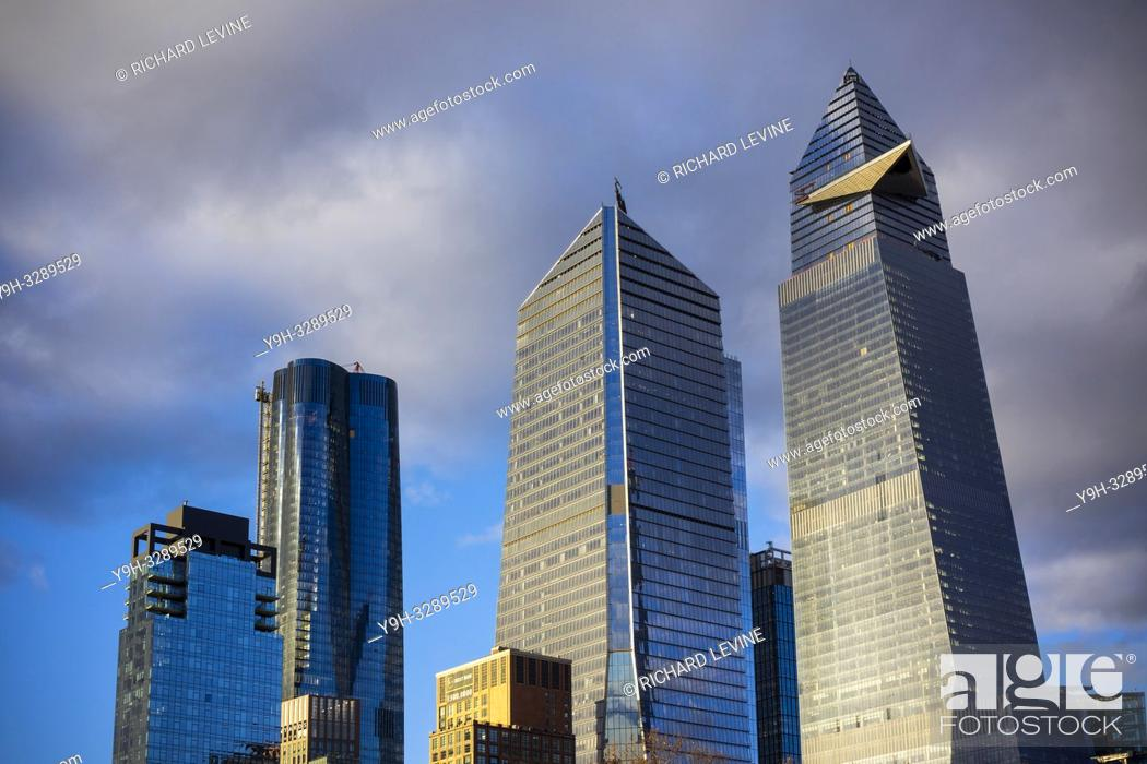 Stock Photo: New York NY/USA-December 29, 2018 10 Hudson Yards, center, 30 Hudson Yards, right, and other development around Hudson Yards in New York on Saturday.