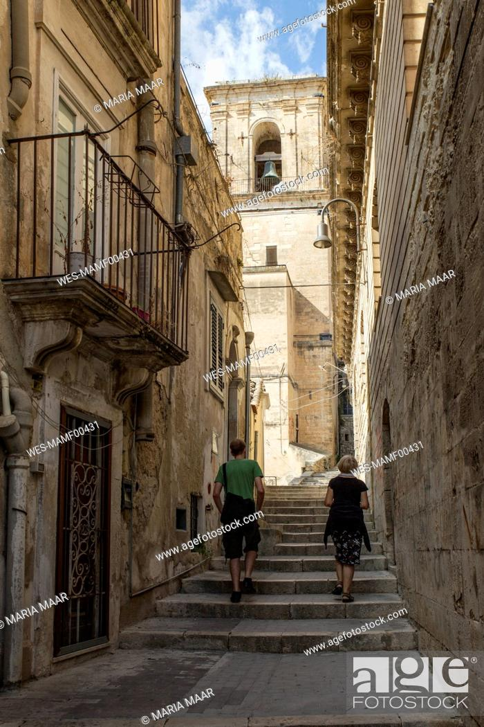 Stock Photo: Italy, Sicily, Modica, lane in the old town.
